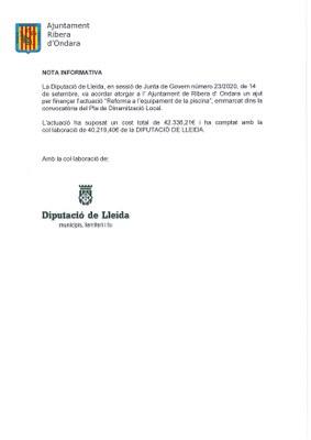 """ACTUACIÓ """"REFORMA A L'EQUIPAMENT DE LA PISCINA"""" FINANÇADA PER LA DIPUTACIÓ DE LLEIDA"""