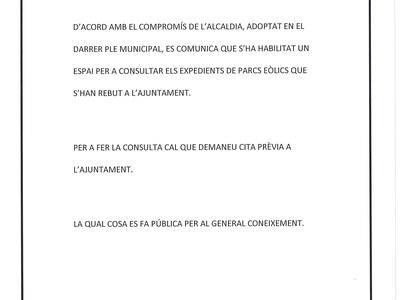 BAN CREACIÓ ESPAI DE CONSULTA EXPEDIENTS PARCS EÒLICS