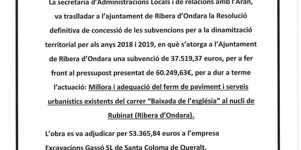 INVERSIONS PER A LA DINAMITZACIÓ TERRITORIAL FINANÇADES PER LA GENERALITAT DE CATALUNYA