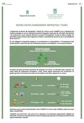 Noves dates cobrament impostos i taxes de l' OAGRTL