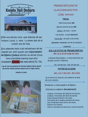 Preinscripcions llar d' infants P1-P2 curs 2019/2020