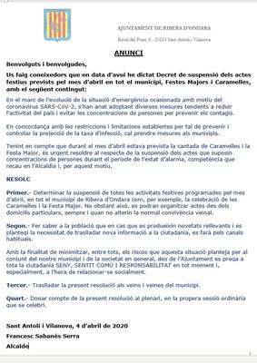 Suspensió d'actes festius al municipi durant el mes d'abril